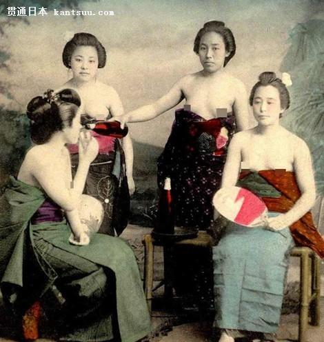 旧时日本艺妓沐浴照